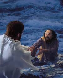 Peter coming on the water to Jesus walking