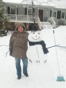 My wife Dawn Carter, with the beautiful snow man she made a couple years ago.